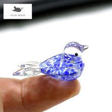 Миниатюрная темно синяя фигурка птицы из муранского стекла в