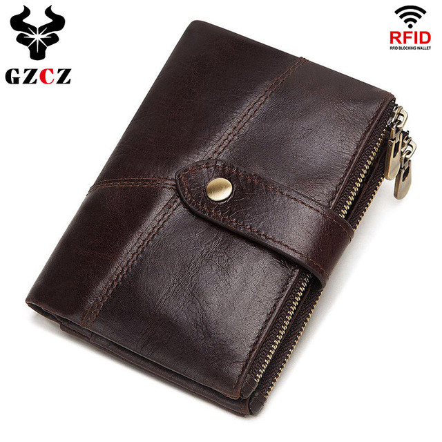 GZCZ RFID Genuine Leather Rfid Wallet Men Crazy Horse Wallets Coin Purse Short Male Money Bag Quality Designer Mini Walet Small