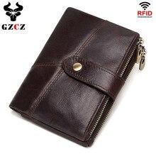 GZCZ RFID кошелек из натуральной кожи Rfid мужские кошельки Crazy Horse портмоне Короткий Мужской кошелек для денег качественный дизайнерский мини кошелек маленький