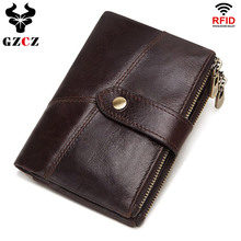 GZCZ RFID 정품 가죽 Rfid 지갑 남자 미친 말 지갑 동전 지갑 짧은 남성 돈 가방 품질 디자이너 미니 Walet 작은