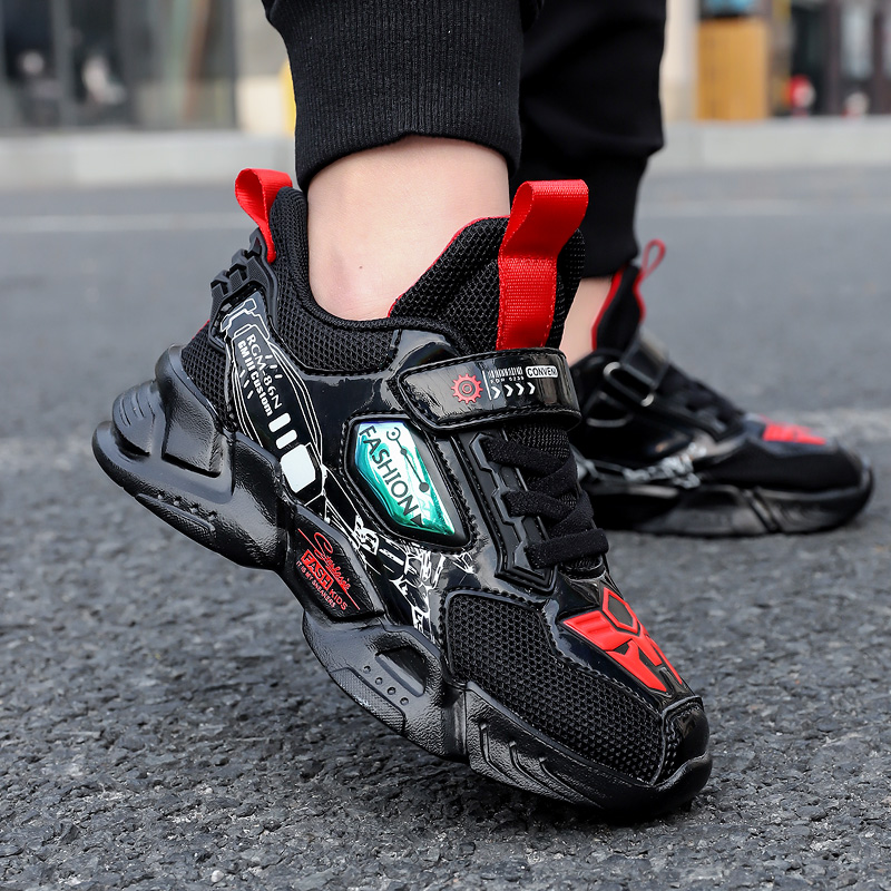 Summer Kids Sports Running Shoes Boys Fashion Breathable Walking Tenis Sneakers Children Hook&loop Casual Shoes Girls 5-12 Years
