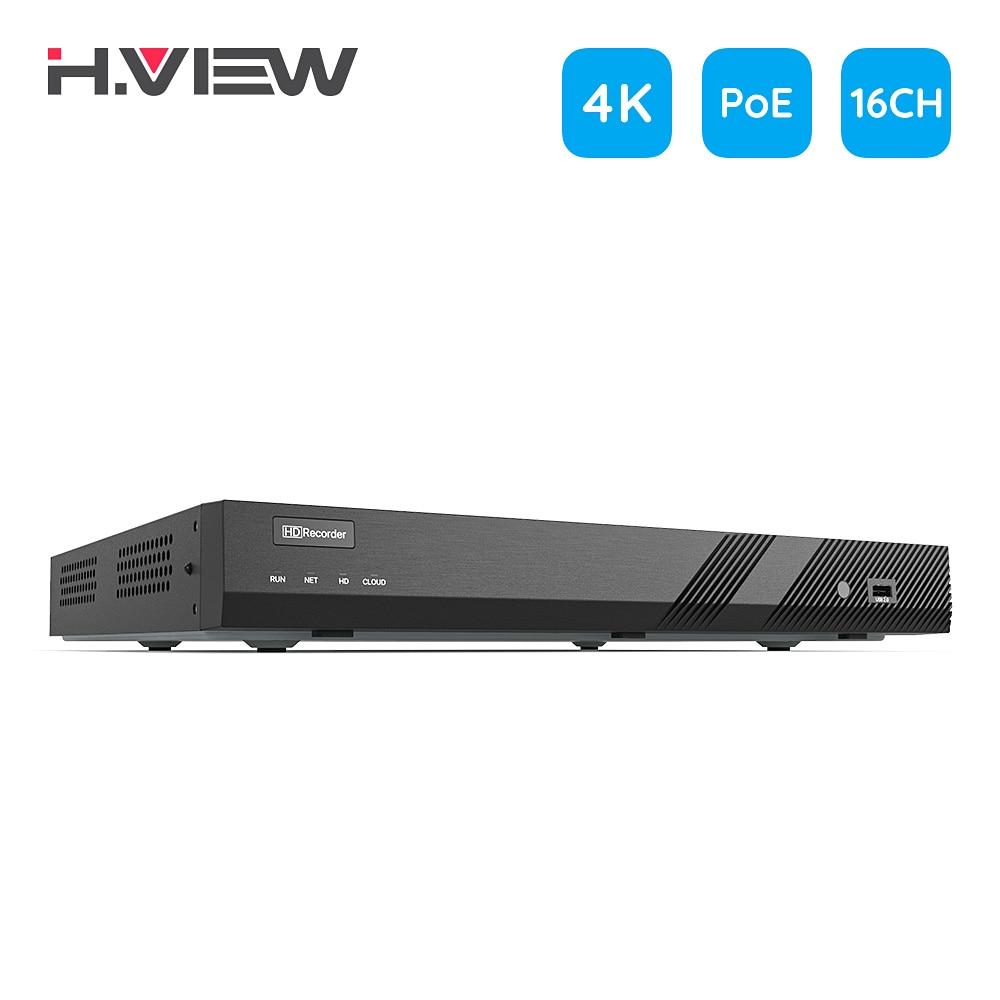 H.View – système de sécurité H.265 16ch 4K, NVR cctv, enregistreur Audio vidéo 8mp, 48V, Surveillance en réseau pour caméra ip POE Onvif 1