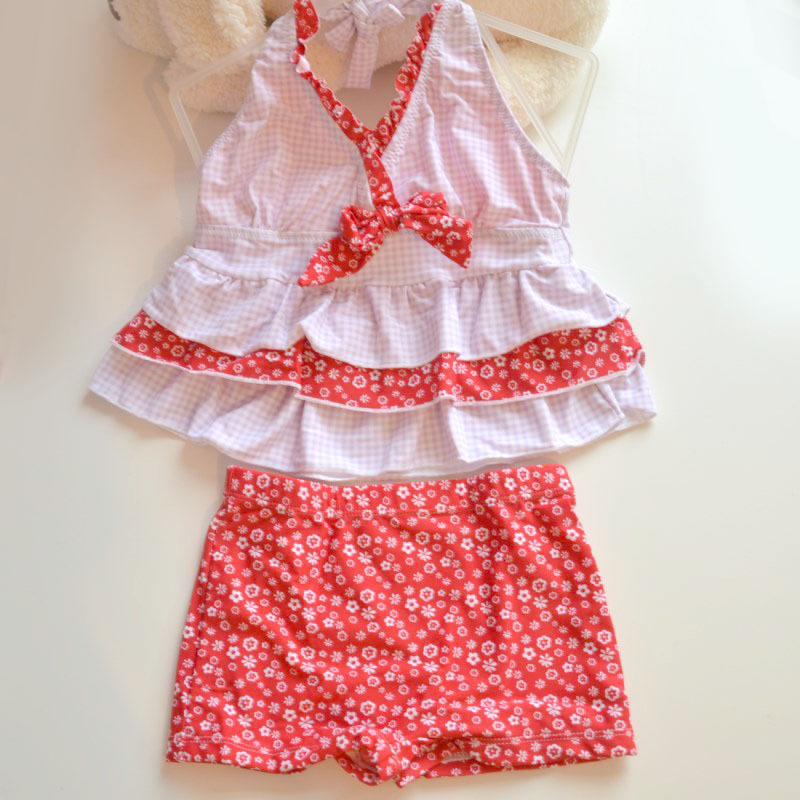 Special Offer KID'S Swimwear Big Virgin Girls Red Plaid Stripes Small Floral Split Type Swimwear