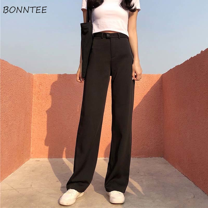Pants Women High Waist Full-length Solid Retro Button Fly Womens Wide Leg Trousers Chic Korean Style Ladies Elegant Loose Soft