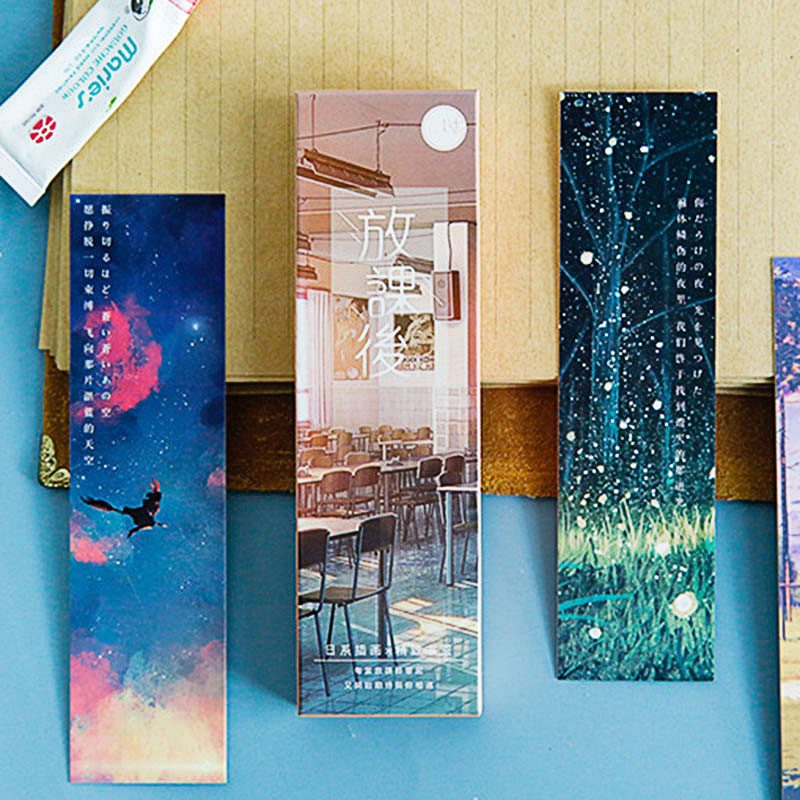 30Pcs/Box Cartoon Comic Bookmark Cute Scape Bookmarks Novelty Paper Book Marks For Kids Gifts School Office Supplies Stationery