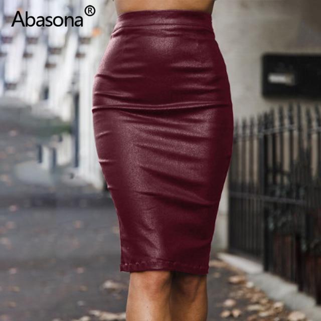Abasona Velvet High Waist Long Pu Faux Leather Pencil Skirt Zip Split Knee Length Sexy Bodycon Midi Skirts Casual Spring Summer 4