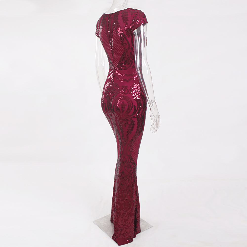 Burgundy Sequined Evening Party Dress Cap Sleeve Floor Length Stretchy Maxi Dress 2019 Autumn Winter 17
