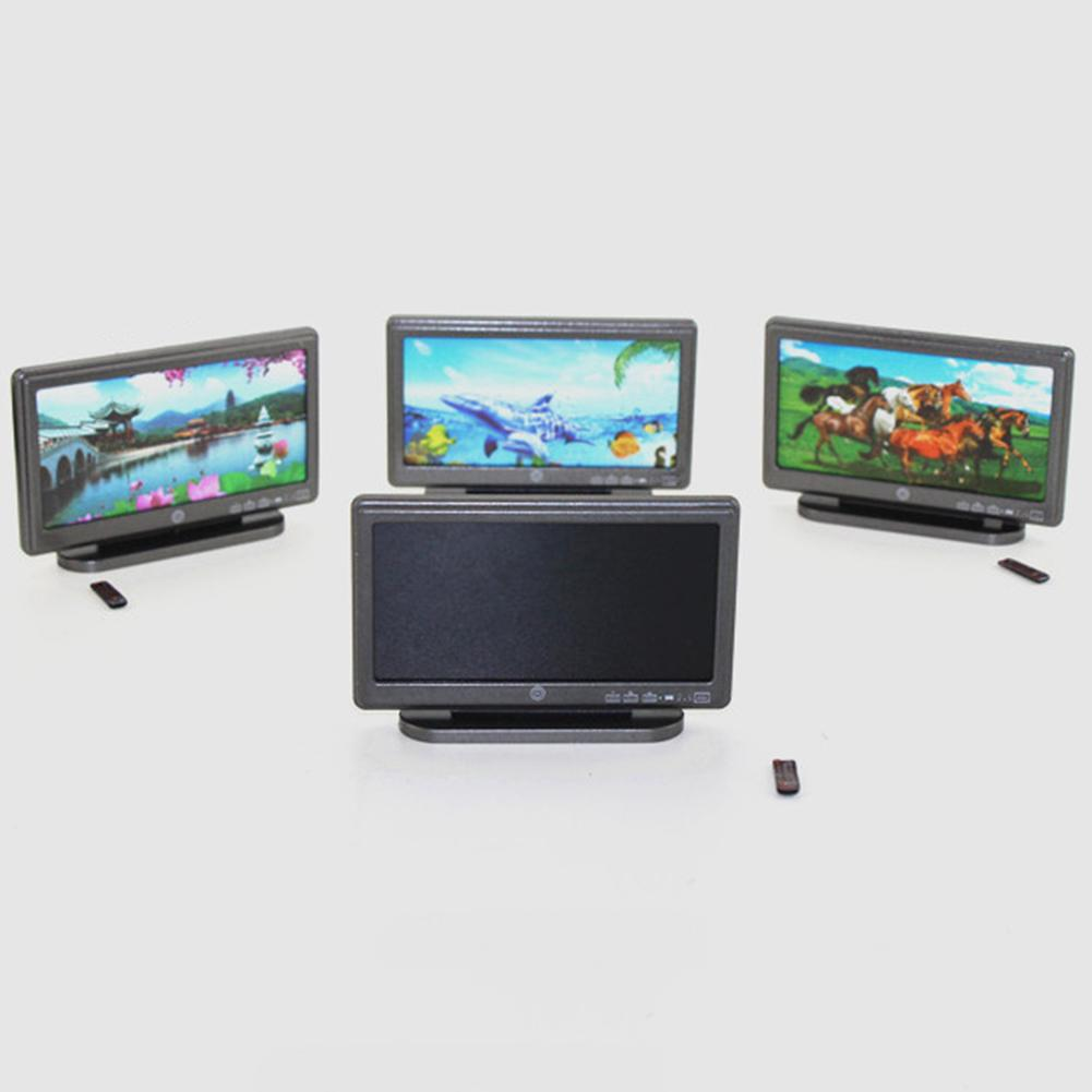 DIY Miniature Furniture TV Television With Remote Control Dollhouse Decoration Simulation Furniture Model Toys