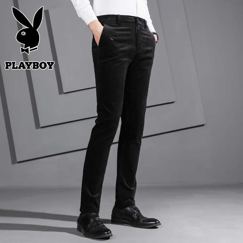 Playboy Broek Jurk Broek Mannen Mannen Slim Fit Broek Playboy Jurk Broek