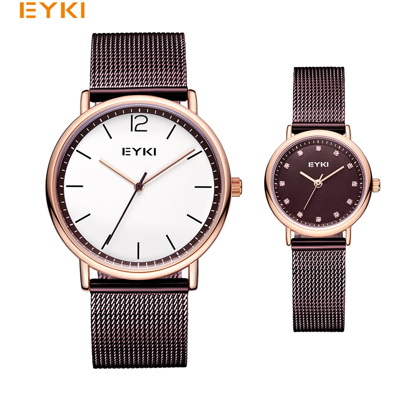 EYKI Brand Couple Weave Mech Strap Watches Simple Milanese Stainless Steel Men Women Casual Dress Watch Ultra Thin Relogio Gift