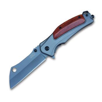 Cuchillo plegable de caza cuchillo de bolsillo supervivencia herramienta de Camping de apertura rápida acero 7CR13Mov 57hr mango de madera para trabajo al aire libre senderismo