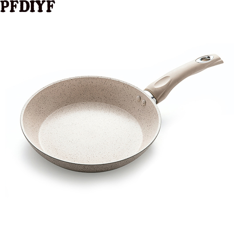 20 -28CM Household Frying Pan Maifan Stone Non-stick Pan White Gray Special Omelette Pot With Soft Handle Steak Pans Dropship