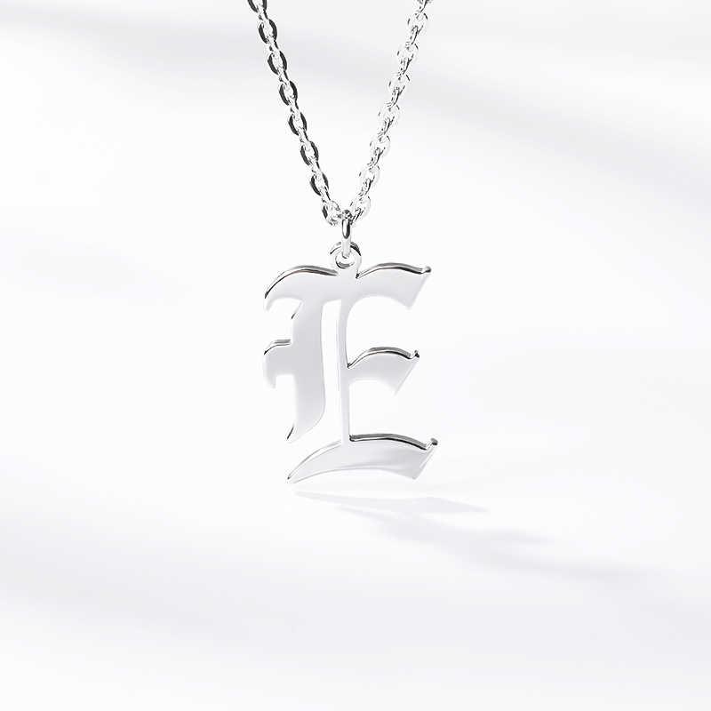 レター初期彼女のために A-Z 大文字古英語チェーンネックレスゴールドステンレス鋼のネックレス