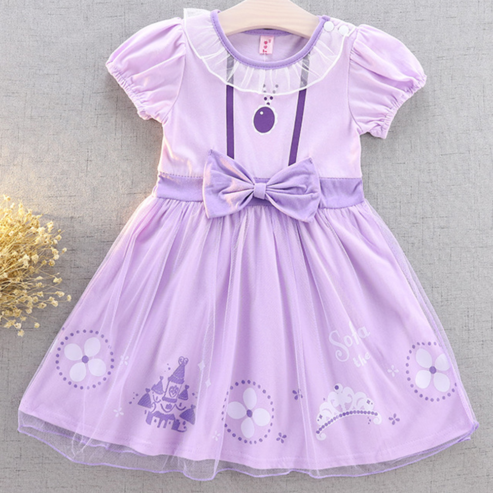 AmzBarley Little Girls Princess Sofia Costume Toddler Lace Dress Up Baby Birthday Party Outfits Cotton clothes 2-8 years