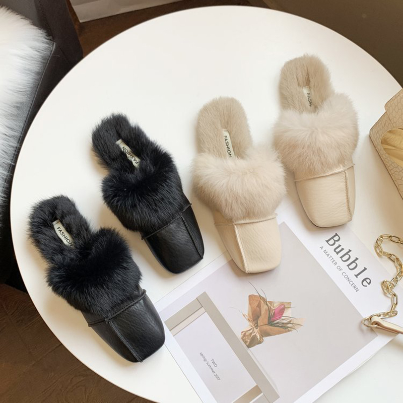 square close toe fur mules shoes flats casual rabbit hair slingback lazy slippers handmade sewing pleated leather slides female 41