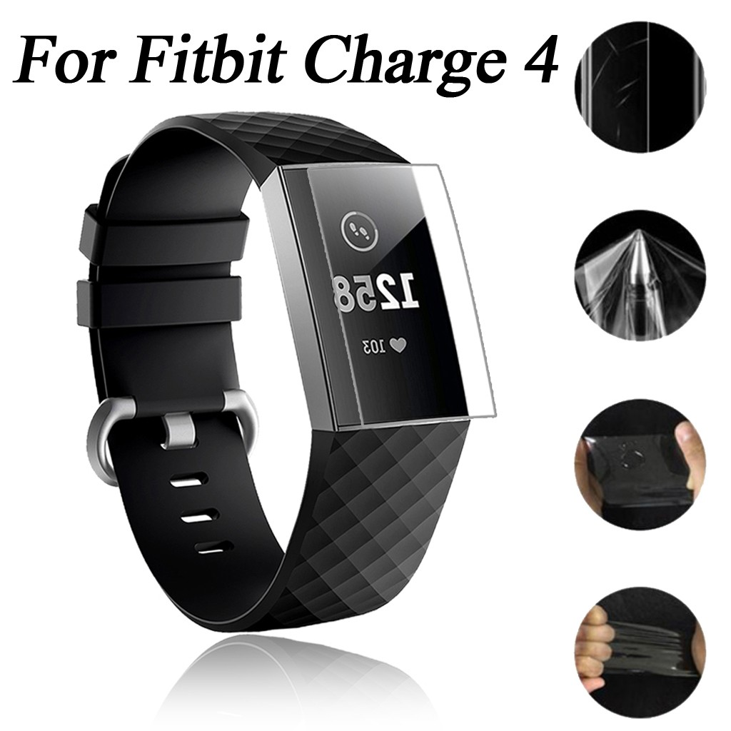 5PC 9H Explosion-proof TPU HD Full Cover Screen Protector Film For Fitbit Charge 4 1