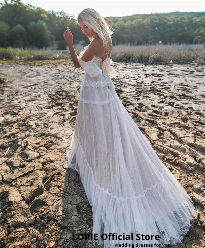 Clearance SaleLORIE Wedding-Dresses Bridal-Gowns Lace Boho Bohemian Off-Shoulder Plus-Size Beach Appliqued