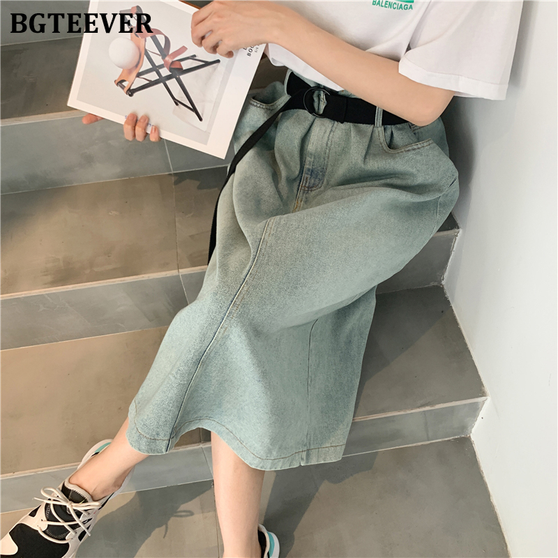 BGTEEVER Vintage High Waist Straight Denim Skirts Womens Spring Summer Loose Sashes Belted Long Jeans Skirt Female 2020