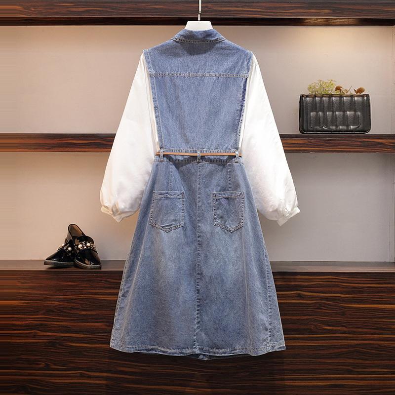 L-5XL grande taille femmes Denim robe 2019 automne à manches longues Femme ample Patchwork robe 4XL grande taille décontracté bleu Denim robes - 4