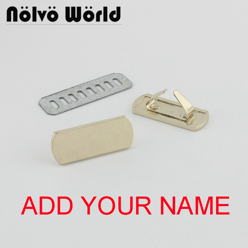 5-20-100 Pieces,36*14mm Light Gold Handbag Rectangle Metal Purse Label Tags,bags Purse Metal Labels,add YOUR LOGO