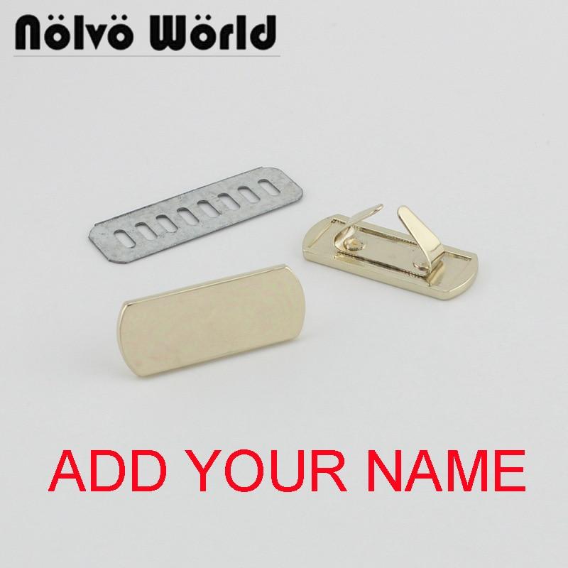 5-20-100 Pieces,36*14mm Light Gold Handbag Rectangle Metal Purse Label Tags,bags Purse Metal Labels,add YOUR LOGO