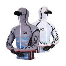 DAIWA Новое поступление Мужская одежда для рыбалки верхняя одежда с капюшоном на молнии Рубашки для рыбалки быстросохнущие с защитой от ультрафиолета для рыбалки куртки Dawa одежда