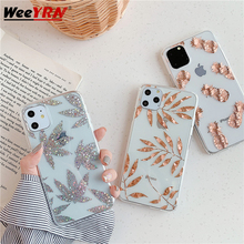 Rose Gold Leaf Silicone+Acrylic Case For iPhone 11 Pro MAX 2019 Clear Transparent Soft Phone Cover