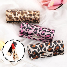 1 Pc Chinese Stijl Retro Luipaard Patroon Borduren Brocade Silk Lipstick Case Met Mini Spiegel Make Storage Case Lipgloss doos(China)