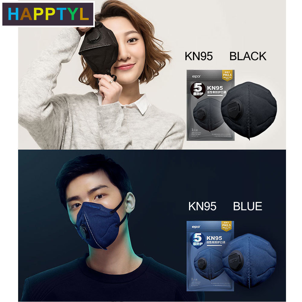 HAPPTYL 1Pcs Fashion Respirator Mask With Breathing Valve Non-woven Fabric Activated Carbon Filter PM2.5 Mouth Masks