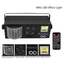 With Wireless Control DMX LED 4in1 Effect Stage Lights,White Strobe+LED Butterfly Light+RG Laser+4 Eyes Patterns Light LED Lamp(China)