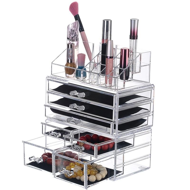 Nieuwe Nieuwe Clear Acrylic Make Organizer Grote Capaciteit Opbergdoos Lippenstift Houder Drawers Make Up Organizer Cosmetische Brush Tool - 3