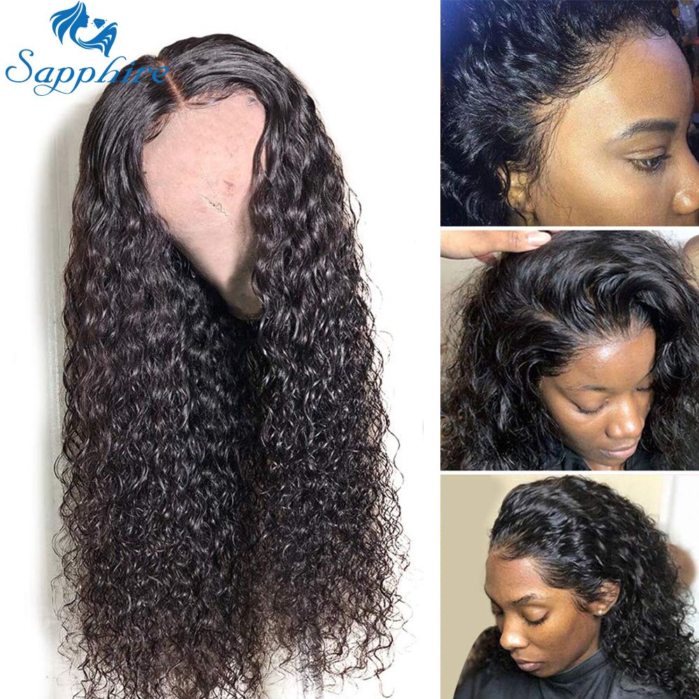 Sapphire Kinky Curly Human Hair Wigs Pre Plucked Hairline Remy Peruvian Wigs 13*4 Lace Front Human Hair Wigs For Black Women