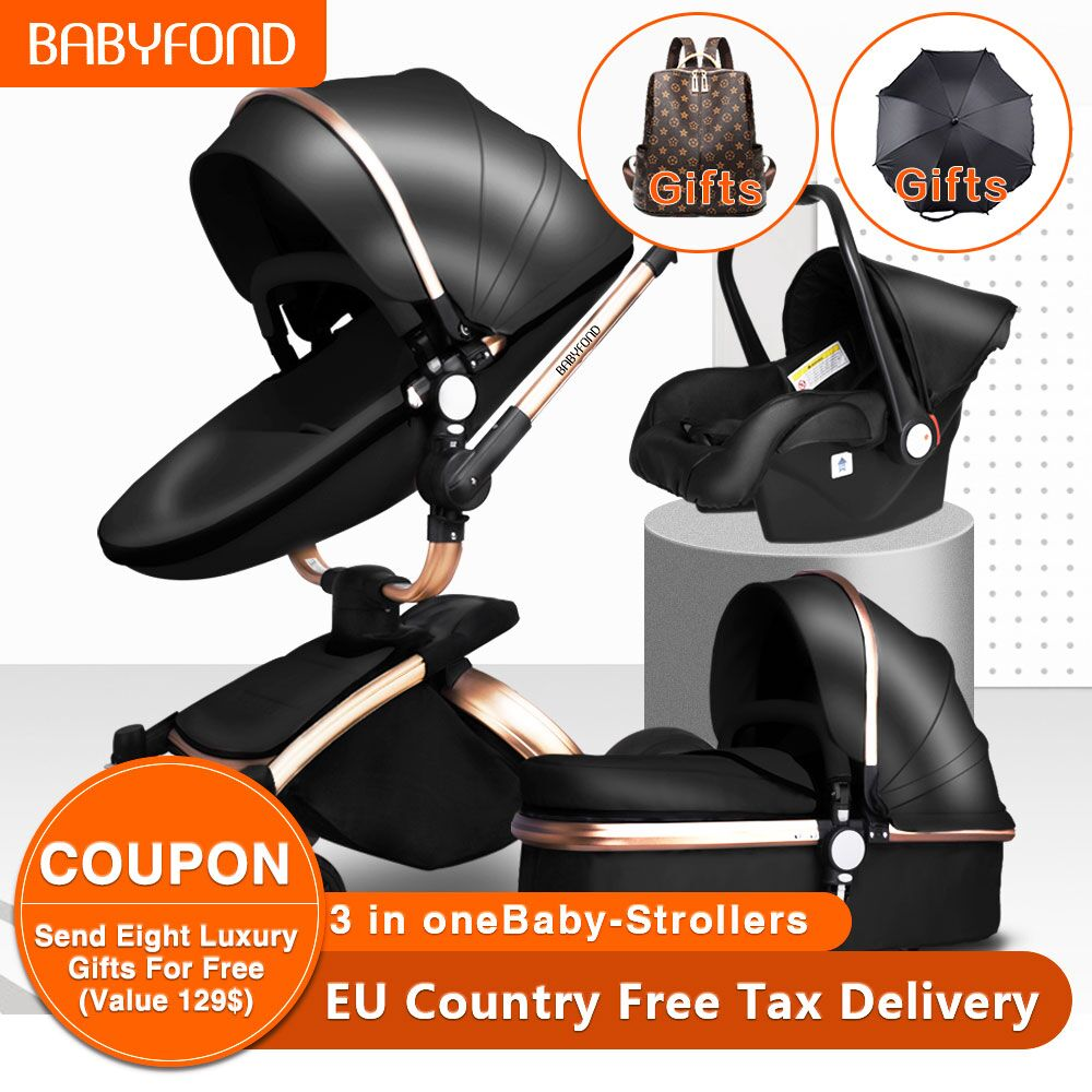 free-ship-babyfond-3-in-1-baby-stroller-360-degree-rotate-carriage-gold-frame-pu-pram-eu-safety-car-seat-with-bassinet-newborn