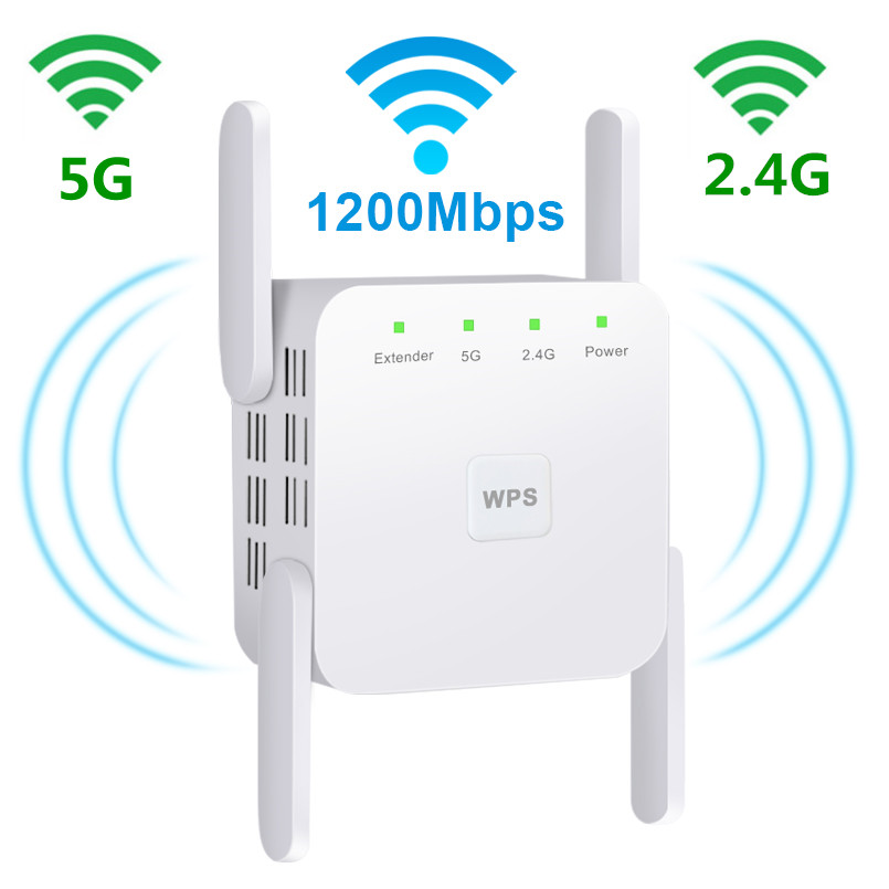 Wireless Wifi Repeater 2.4 5Ghz Wifi Extender 1200Mbps Dual Band WiFi Amplifier AC 4 Antennas Wi-Fi Booster Wi Fi Access Point