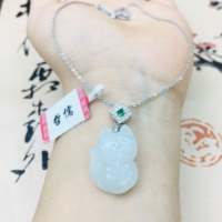 Natural Burmese Ajadeite carved small fox pendant with 925 sterling silver necklace Elegant ladies clavicle chain