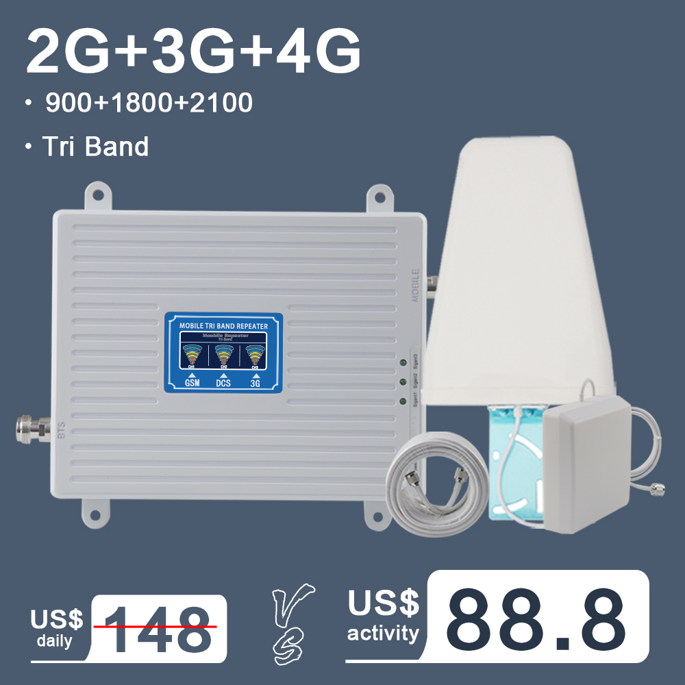 <font><b>2G</b></font> 3G 4G Tri Band Cellular Signal Booster Amplifier GSM 900 4G LTE 1800 B3 3G WCDMA 2100 B1 Cell Phone Signal Amplifier <font><b>Repeater</b></font> image