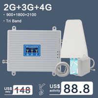 Amplificateur de Signal cellulaire à trois bandes 2G 3G 4G GSM 900 4G LTE 1800 B3 3G WCDMA 2100 B1 répéteur d'amplificateur de Signal de téléphone portable