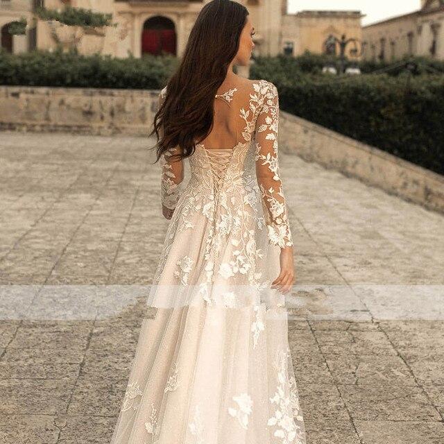 Lace Applique Glitter Tulle Wedding Dress Long Sleeved Scoop Neck Vintage A Line Bridal Gown Lace-up Open Back Elegant Ivory 4