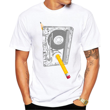 TEEHUB Casual Rewind Men T-Shirt Fashion Pencil In Tape Printed Hipster Tshirts Short Sleeve t shirts Basic Tee