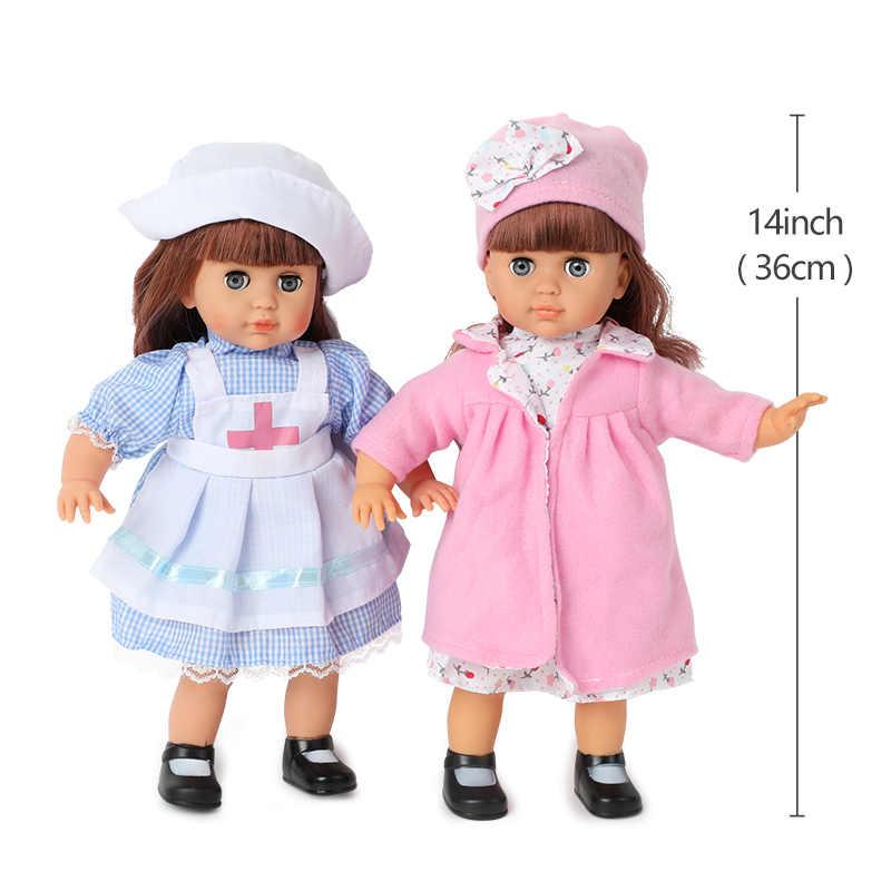 Boneca bebê reborn de 14 polegadas, som, crianças, brinquedos, 36cm, simulação, silicone macio, vestido realista de moda, boneca do bebê, presentes brinquedos para meninas