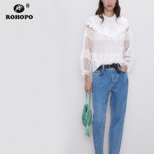 ROHOPO Ruffled Overlocked Round Collar Mesh Patchork Chiffon Blouse Double Layers Embroidery Daisy Pullover White Shirt #6458