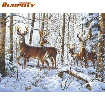 RUOPOTY 60x75cm Framed Oil Painting By Numbers Kits For Kids Christmas Elk In Snow Animal Paints By Number Home Room Decor Art