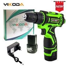 YIKODA 16,8 в электрическая отвертка литиевая батарея перезаряжаемая аккумуляторная отвертка двухскоростная Электрическая дрель DIY электроинструменты
