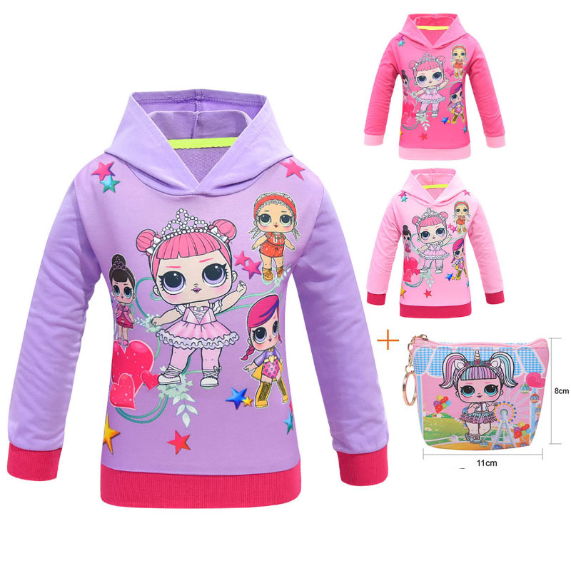 Surprise Doll Children LOl Hooded Sweater 2019 New Doll Cartoon Girl Hooded Jacket + Bag