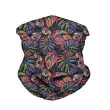 WHEREISART Tropical Flower Palm Leaves Design Neck Gaiter Snood Headwear Maske Seamless Bandanas Tube Magic Scarf Men Women