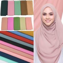 Women Plain Bubble Chiffon Scarf Hijab Wrap Printe Shawls Headband Muslim Scarves Solid Plain Colors 10pcs/lot