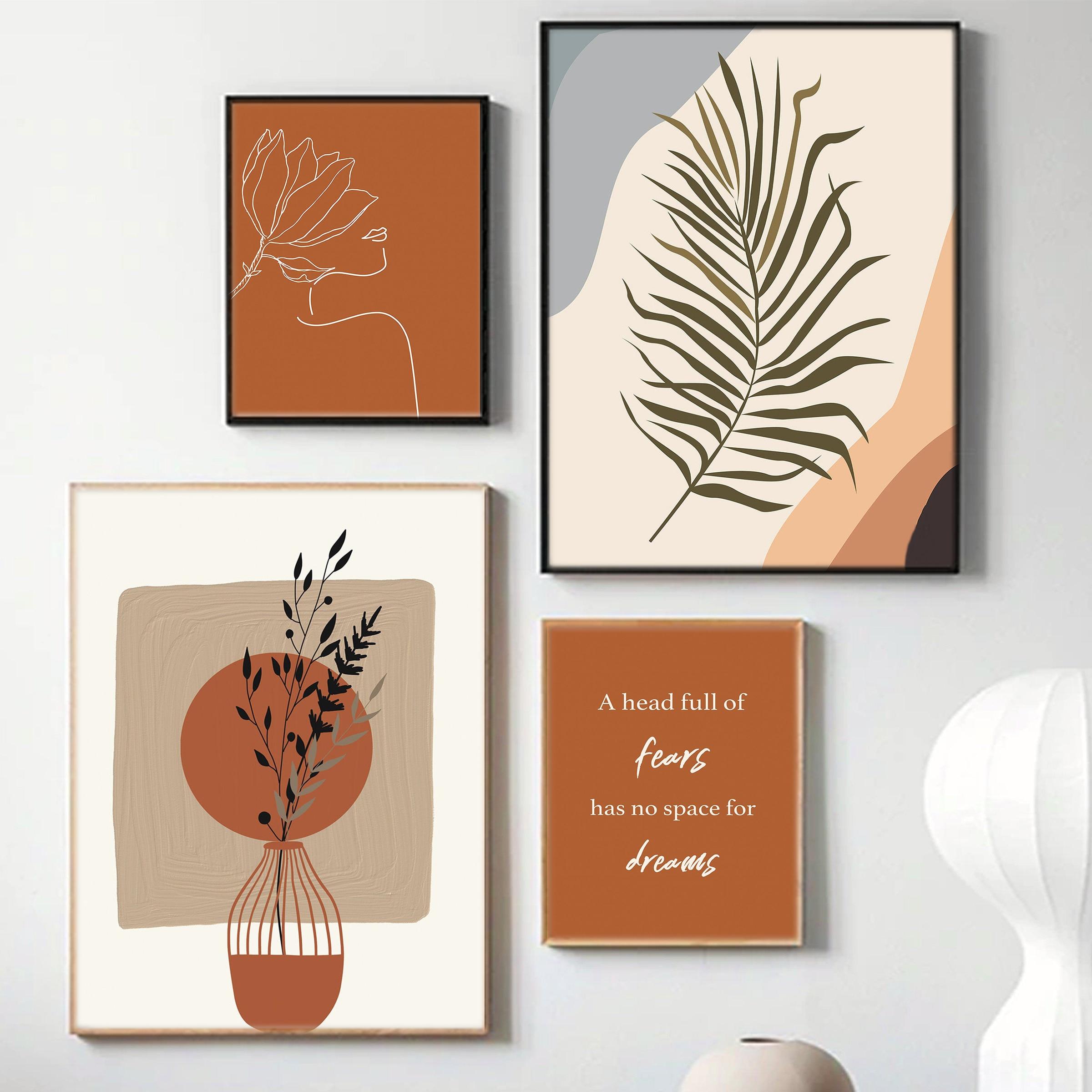 Абстрактная сгоревшая оранжевая настенная Картина на холсте Терракотовая растительная Минималистичная однолинейная картина плакаты с принтом в стиле бохо домашний декор