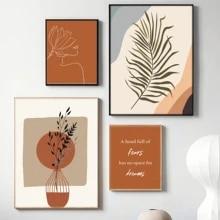 Abstrato queimado laranja arte da parede pintura em tela de terracota botânico minimalista uma linha de desenho cartazes boho impressões para casa decoração