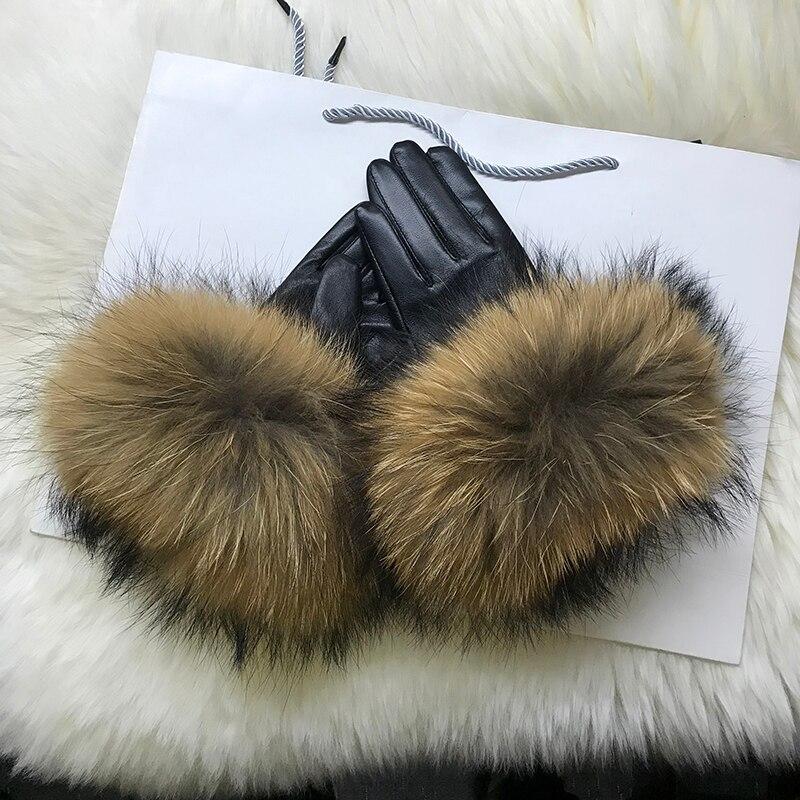Купить настоящие меховые перчатки енота женская натуральная кожа лиса
