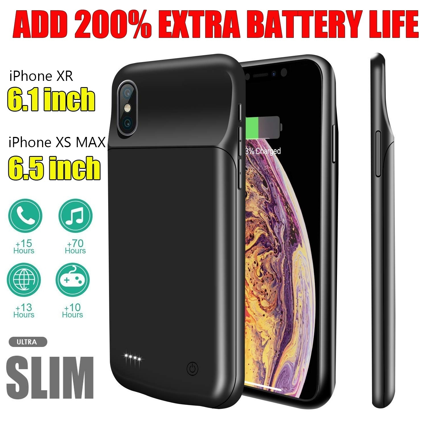 Battery Silicone Charger Case <font><b>4000mAh</b></font> 6500mAh for iPhone 11 Pro Max XR XS Max X 8 7 6 6S plus Portable <font><b>Power</b></font> <font><b>Bank</b></font> Cover image